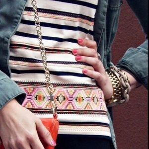 j.crew striped embroidered top